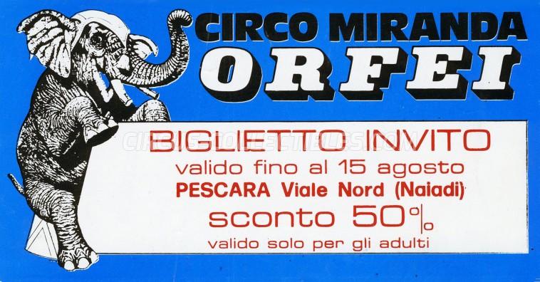 Miranda Orfei Circus Ticket/Flyer - Italy 1985