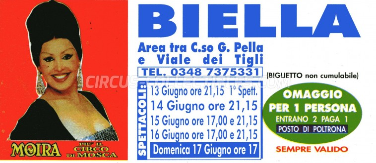 Moira Orfei Circus Ticket/Flyer - Italy 1989