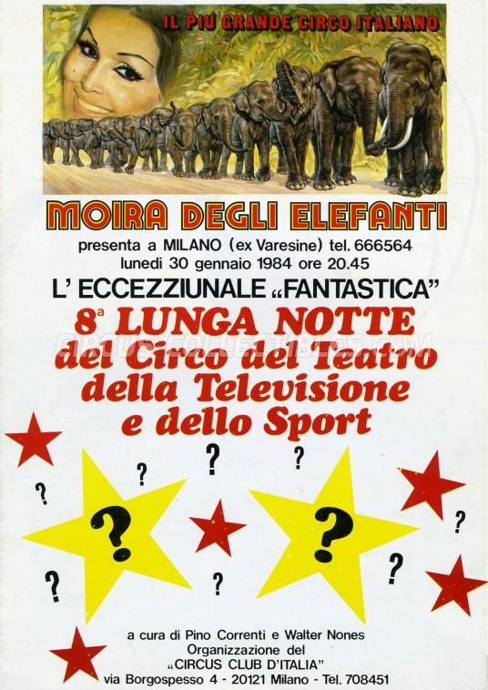 Moira Orfei Circus Ticket/Flyer - Italy 1984