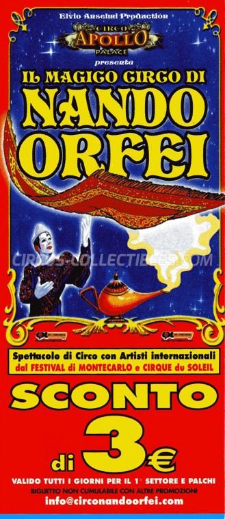 Nando Orfei Circus Ticket/Flyer -  2012