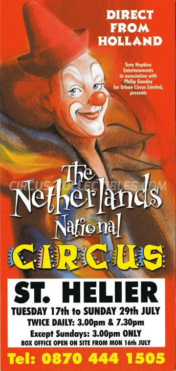 The Netherlands National Circus Circus Ticket/Flyer - England 1990