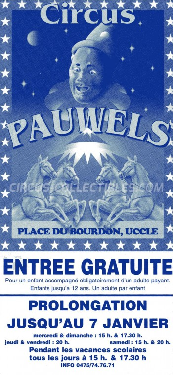 Pauwels Circus Ticket/Flyer - Belgium 0
