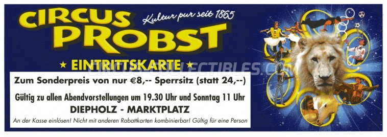 Probst Circus Ticket/Flyer - Germany 2014