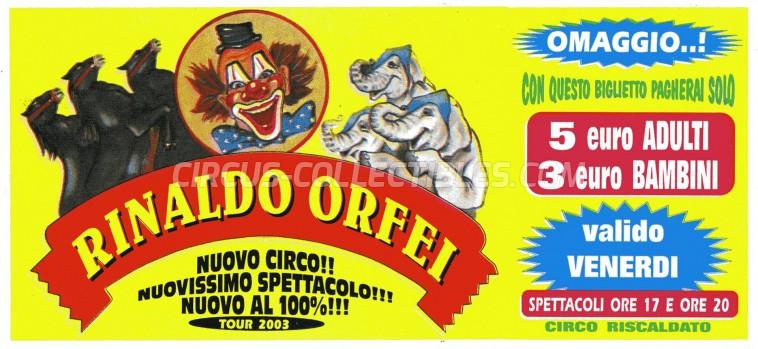 Rinaldo Orfei Circus Ticket/Flyer -  2003