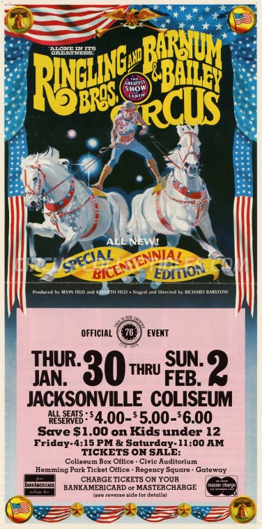 Ringling Bros. and Barnum & Bailey Circus Circus Ticket/Flyer - USA 1976