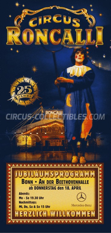 Roncalli Circus Ticket/Flyer - Germany 2002