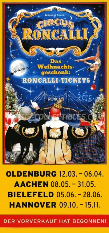 Roncalli Circus Ticket/Flyer -  2014