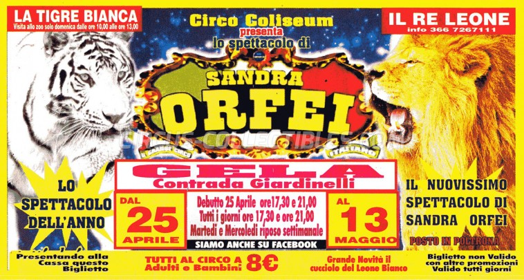 Sandra Orfei Circus Ticket/Flyer - Italy 0