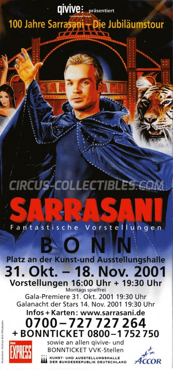 Sarrasani Circus Ticket/Flyer - Germany 2001