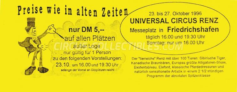 Renz Circus Ticket/Flyer - Germany 1996