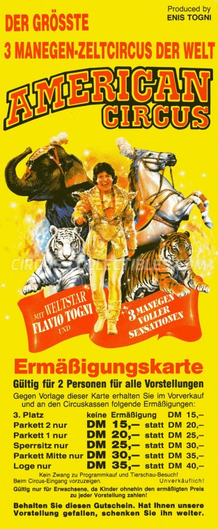 American Circus Circus Ticket/Flyer - Germany 1992