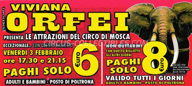 Viviana Orfei Circus Ticket/Flyer -  2012