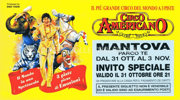 American Circus Circus Ticket/Flyer - Italy 1996
