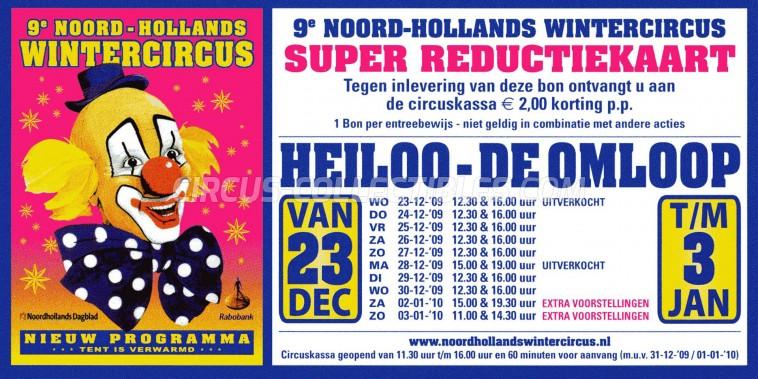 Noord-Hollands Wintercircus Circus Ticket/Flyer - Netherlands 2009