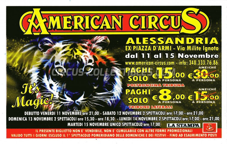 American Circus Circus Ticket/Flyer - Italy 2011