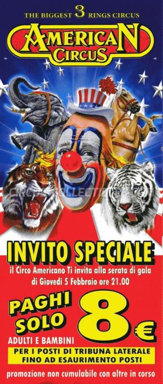 American Circus Circus Ticket/Flyer - Italy 2015