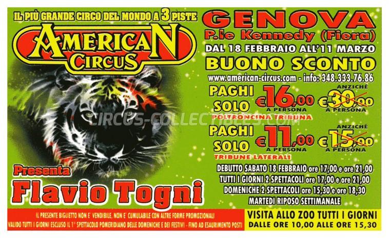 American Circus Circus Ticket/Flyer - Italy 2012