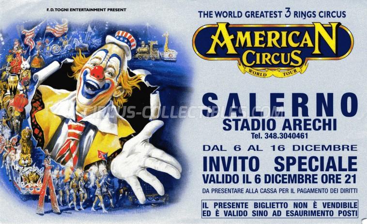 American Circus Circus Ticket/Flyer - Italy 2001