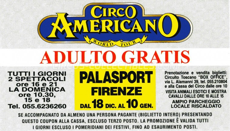 American Circus Circus Ticket/Flyer - Italy 1998