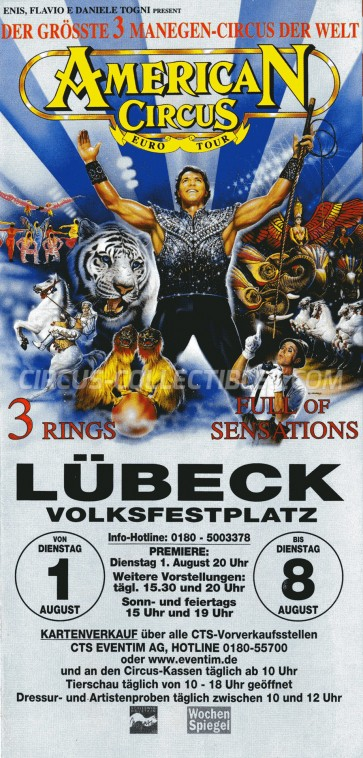 American Circus Circus Ticket/Flyer - Germany 2000