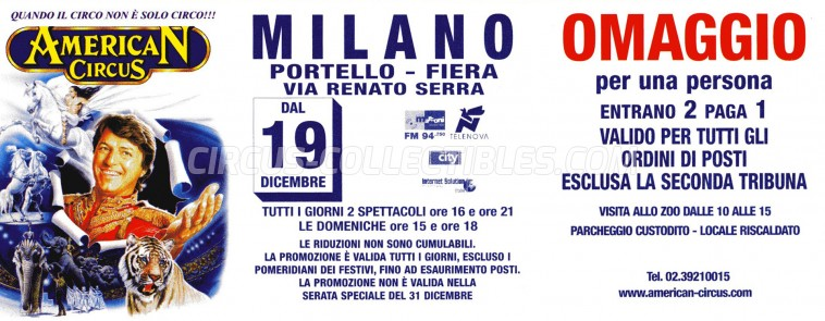 American Circus Circus Ticket/Flyer - Italy 2002