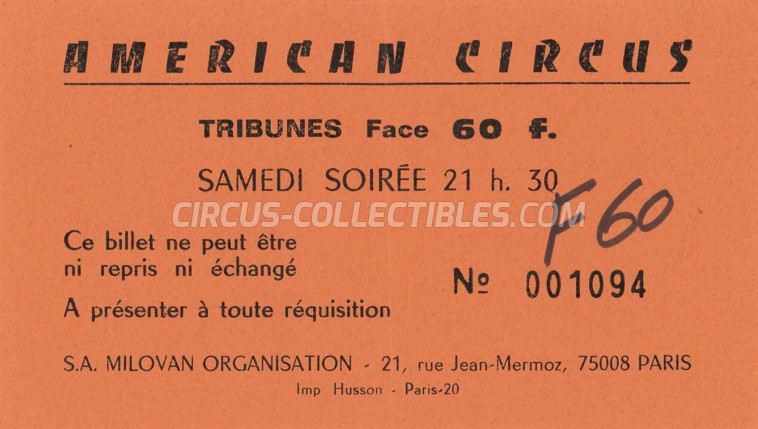 American Circus Circus Ticket/Flyer - France 1980