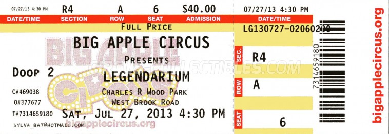 Big Apple Circus Circus Ticket/Flyer - USA 2013