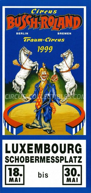 Busch-Roland Circus Ticket/Flyer - Luxembourg 1999