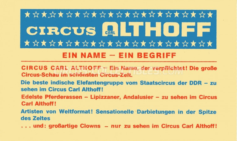 Carl Althoff Circus Ticket/Flyer -  0