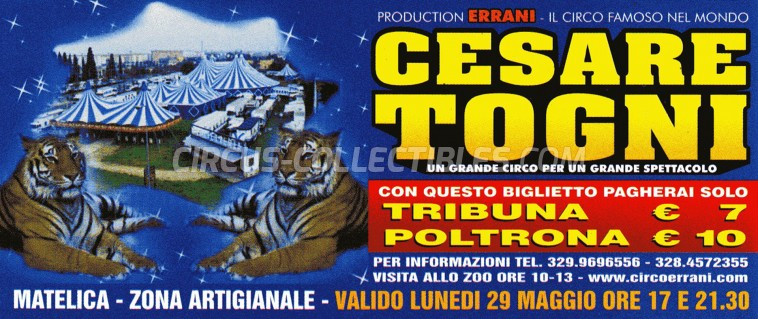 Cesare Togni Circus Ticket/Flyer - Italy 0
