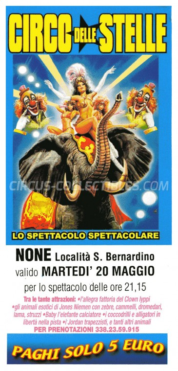 Circo delle Stelle Circus Ticket/Flyer - Italy 2003