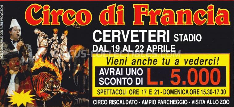 Circo di Francia Circus Ticket/Flyer - Italy 0