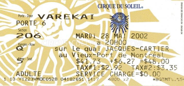 Cirque du Soleil Circus Ticket/Flyer - Canada 2002