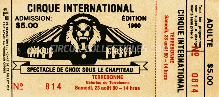 Gatini Circus Ticket/Flyer - Canada 1980