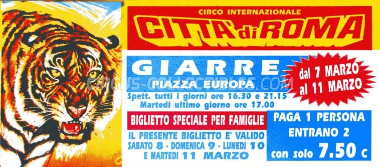 Citta' di Roma Circus Ticket/Flyer - Italy 1997