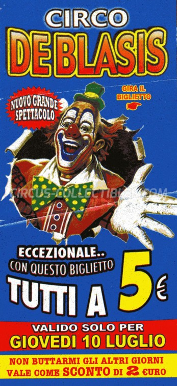 De Blasis Circus Ticket/Flyer -  2003