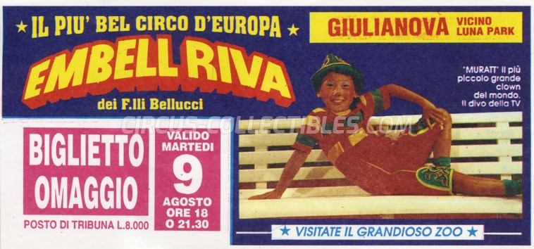 Embell Riva Circus Ticket/Flyer - Italy 1994