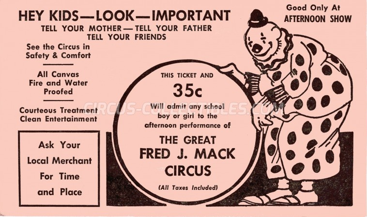 Fred J. Mack Circus Circus Ticket/Flyer -  0