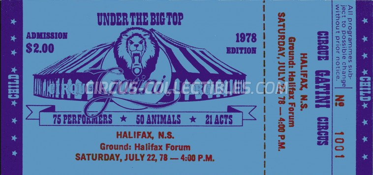 Gatini Circus Ticket/Flyer - Canada 1978