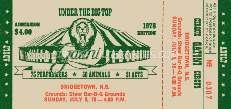 Gatini Circus Ticket/Flyer - Canada 1978