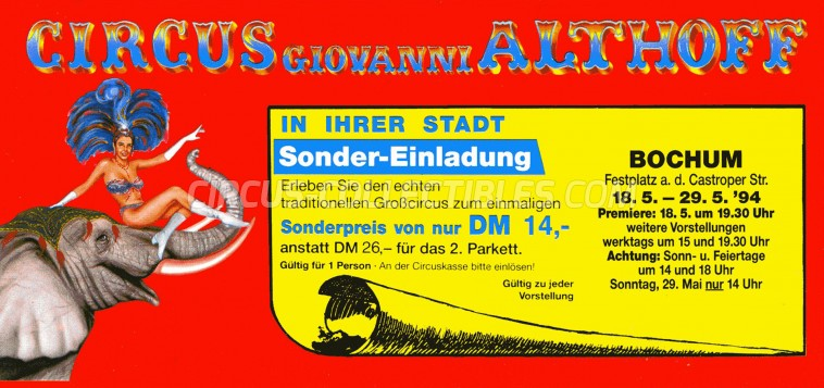 Giovanni Althoff Circus Ticket/Flyer - Germany 1994