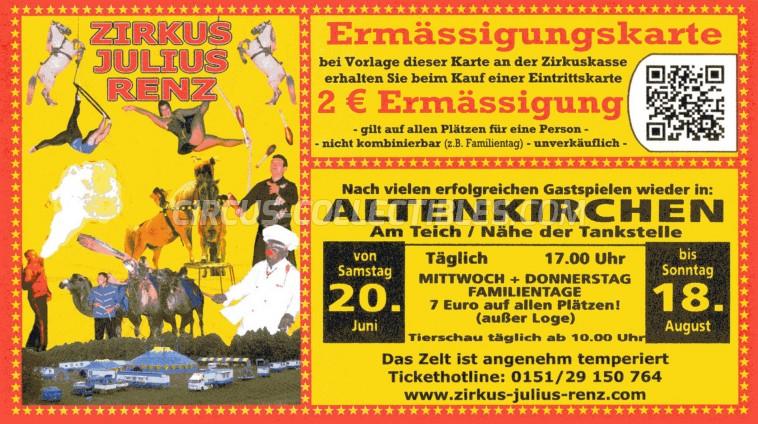 Julius Renz Circus Ticket/Flyer - Germany 2009