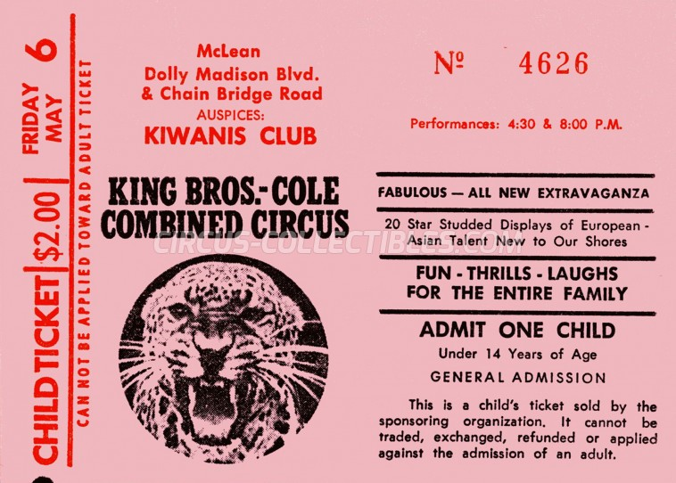 King Bros-Cole Combined Circus Circus Ticket/Flyer -  1977
