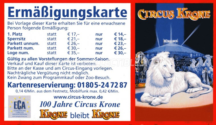 Krone Circus Ticket/Flyer -  0