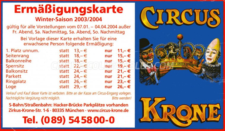 Krone Circus Ticket/Flyer -  2003