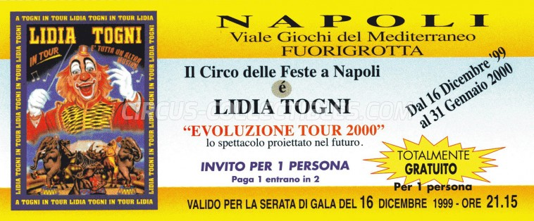 Lidia Togni Circus Ticket/Flyer - Italy 1999