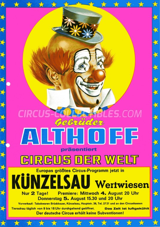 Gebrüder Althoff Circus Ticket/Flyer - Germany 1976