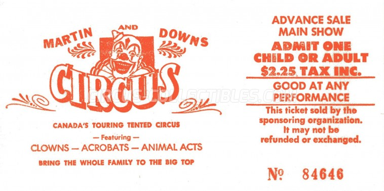 Martin and Downs Circus Circus Ticket/Flyer -  0