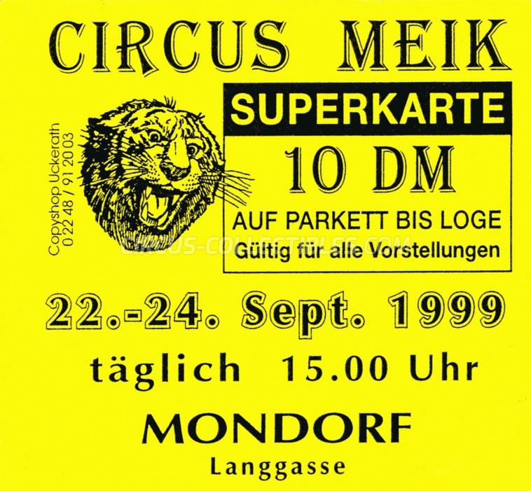 Meik Circus Ticket/Flyer - Germany 1999