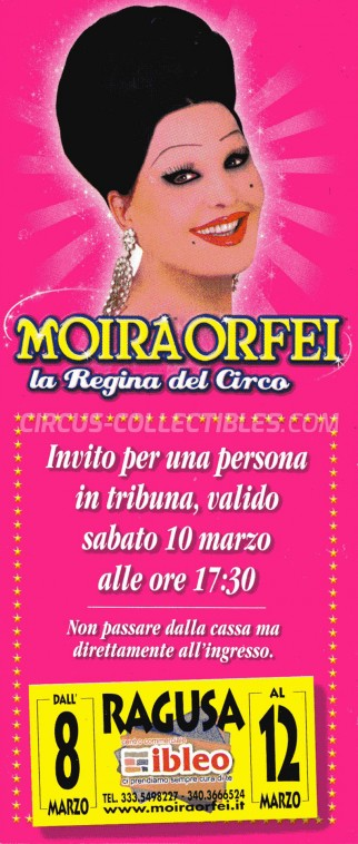 Moira Orfei Circus Ticket/Flyer - Italy 2012